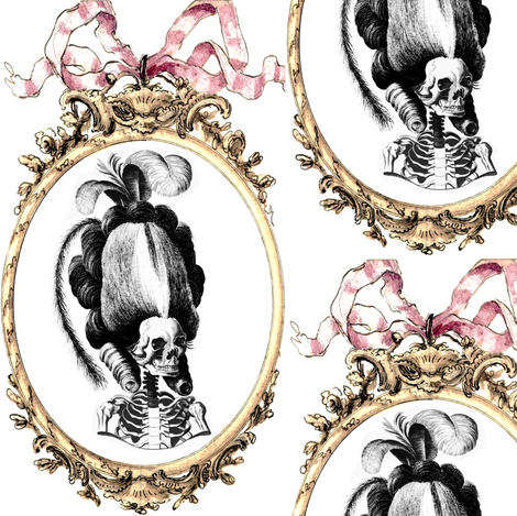 5 Marie Antoinette french France Queen Empress poufs skulls skeletons Victorian elegant gothic lolita Baroque Rococo Princess bows ribbons borders frames medallions  morbid macabre scary parody caricature egl  fabric by raveneve on Spoonflower - custom fabric