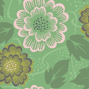 vintage_floral_-  mint, large scale