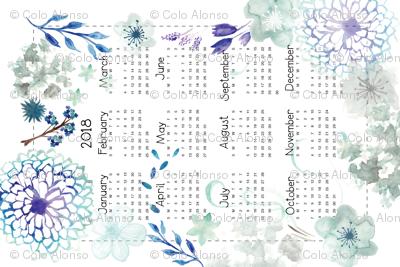 Blue Flowers Calendar 2018