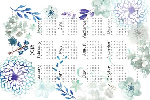 Blue Flowers Calendar 2018 fabric by colo_alonso on Spoonflower - custom fabric