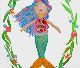 MermaidWreath-ed-ed-ed fabric by andmonstertoys on Spoonflower - custom fabric