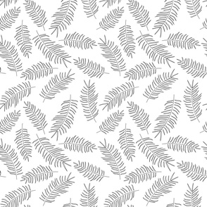 Seamless pattern with tropical black leaves on white background