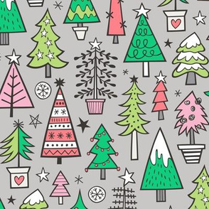 Christmas Trees Doodle Forest Woodland Pink Light Red on Light Grey