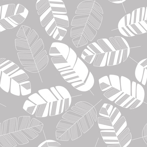 Seamless pattern with white leaves on gray background