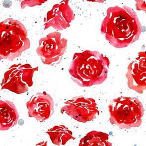 Watercolor roses - red