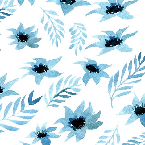Watercolor floral - light blue fabric by aliceelettrica on Spoonflower - custom fabric