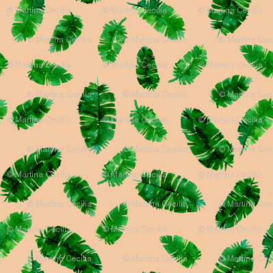 Tropical palm - green and pink