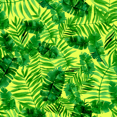 Tropical palm - monstera - green and yellow fabric by aliceelettrica on Spoonflower - custom fabric