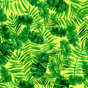 Tropical palm - monstera - green and yellow