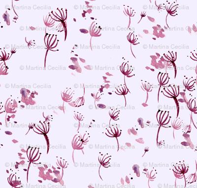 watercolor dandelion seeds - pink