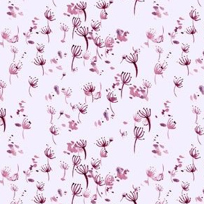 watercolor dandelion seeds - pink