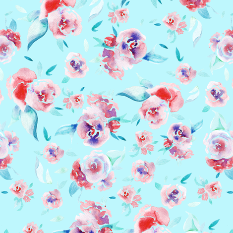 Watercolor floral - pink on light blue fabric by aliceelettrica on Spoonflower - custom fabric