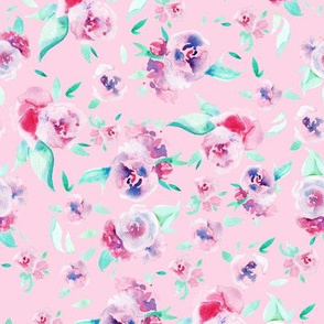 Watercolor floral - pink on pink