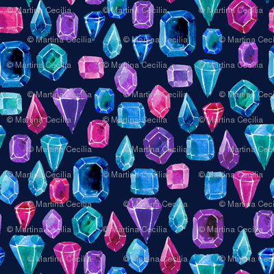 Watercolor gemstones - blue and pink