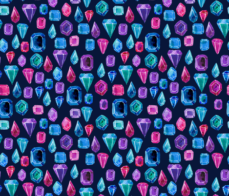 Watercolor gemstones - blue and pink fabric by aliceelettrica on Spoonflower - custom fabric