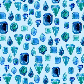 Watercolor gemstones - blue