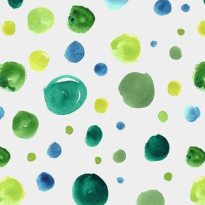 Watercolor polka dots - green