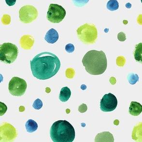 Watercolor polka dots - green