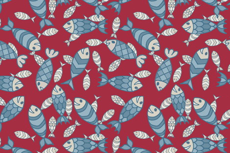 fish_SW_red_FINAL fabric by jeanherrondesign on Spoonflower - custom fabric