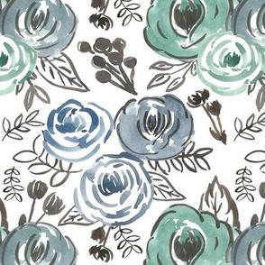 Blue Green Loose Sketchy Floral