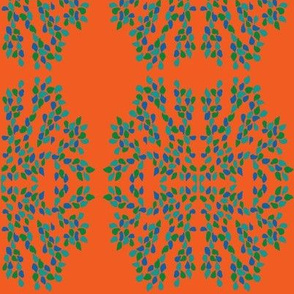 Leaf Cluster Medallions on Red-Orange