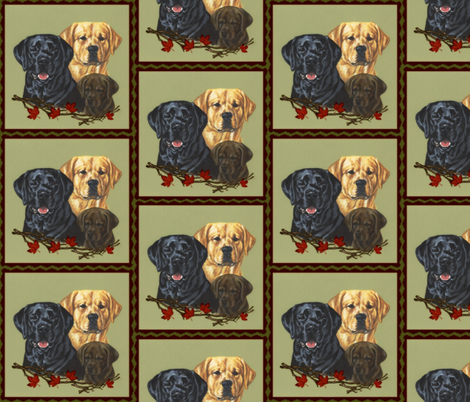 Labrador retriever dogs black, yellow and chocolate fabric by bow_lady_design on Spoonflower - custom fabric