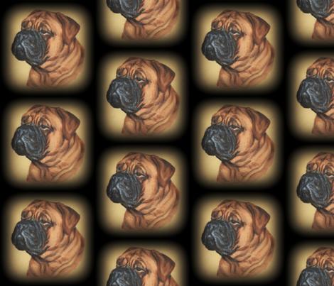 Bullmastiff dog portrait fabric by bow_lady_design on Spoonflower - custom fabric