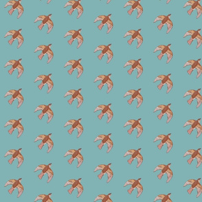 orderly sparrows on sky blue