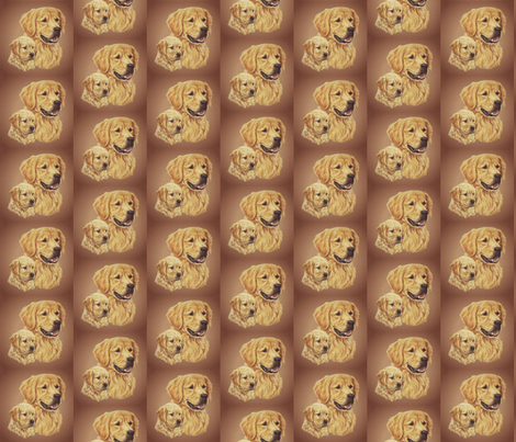 golden retriever dog with puppy fabric by bow_lady_design on Spoonflower - custom fabric