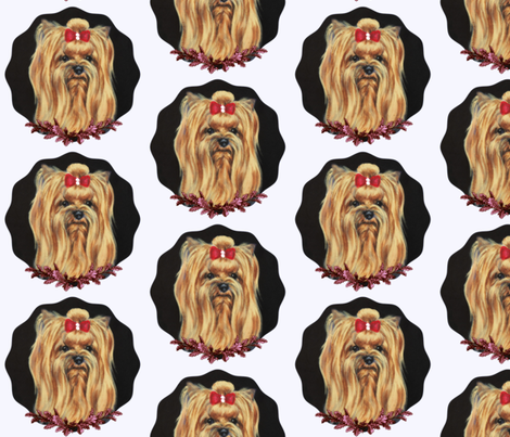 Yorkshire terrier dog portrait in blue cutout frame-ed fabric by bow_lady_design on Spoonflower - custom fabric