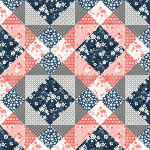 Cherry blossom cheater quilt navy and peach pink
