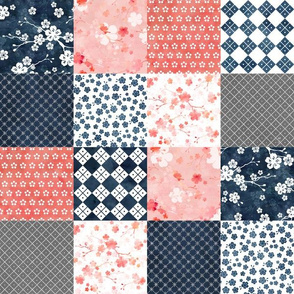 Cherry blossom squares cheater quilt