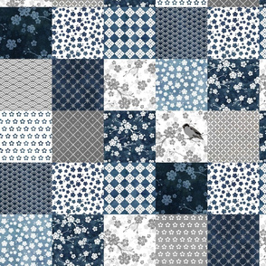 Blue cherry blossom patchwork blocks
