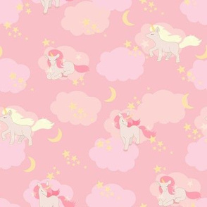 unicorns and clouds pink