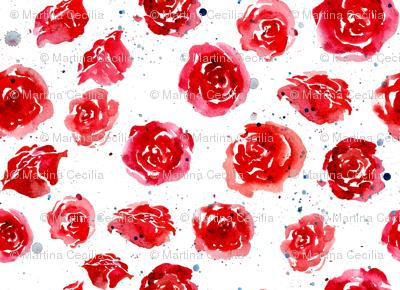Watercolor roses - red