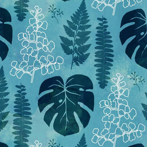 Turquoise tropical leaves