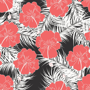 Seamless tropical pattern with white leaves and red flowers on white background