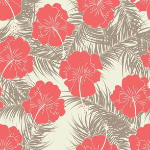 Seamless tropical pattern with brown leaves and red flowers on vanilla background
