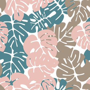 Summer seamless tropical pattern with colorful monstera palm leaves on white background