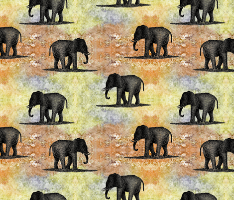 Elephants on tie dye fabric by zandloopster on Spoonflower - custom fabric