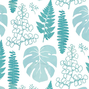 Turquoise tropical leaves on white