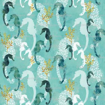 Teal Pointillism Seahorse