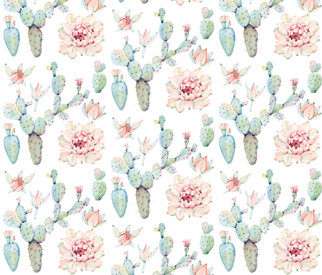 Watercolor Paddle Cactus in Pastel fabric by hipkiddesigns on Spoonflower - custom fabric