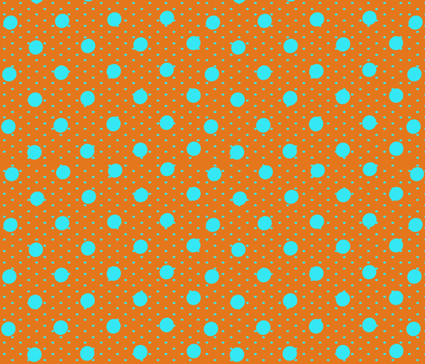 Orange and Blue Polka Party fabric by lalaliz on Spoonflower - custom fabric