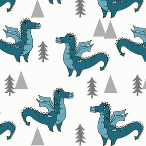 dragon fabric // quirky kids illustration fun design original andrea lauren illustration - teal