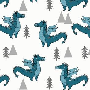 dragon fabric // quirky kids illustration fun design original andrea lauren illustration - teal