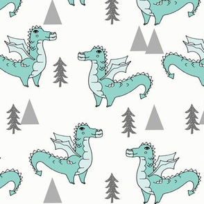 dragon fabric // quirky kids illustration fun design original andrea lauren illustration - mint