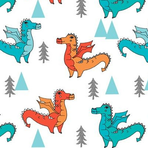 dragon fabric // quirky kids illustration fun design original andrea lauren illustration - turquoise and orange