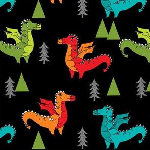 dragon fabric // quirky kids illustration fun design original andrea lauren illustration - brights on black
