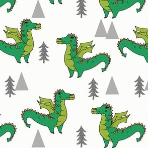 dragon fabric // quirky kids illustration fun design original andrea lauren illustration - green
